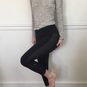 Lululemon Black Lace Up Side Legging Cropped Pants